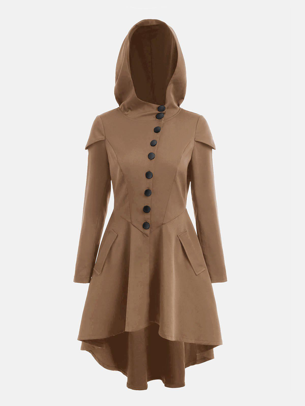 Cheap Lace Up Layered High Low Hooded Coat