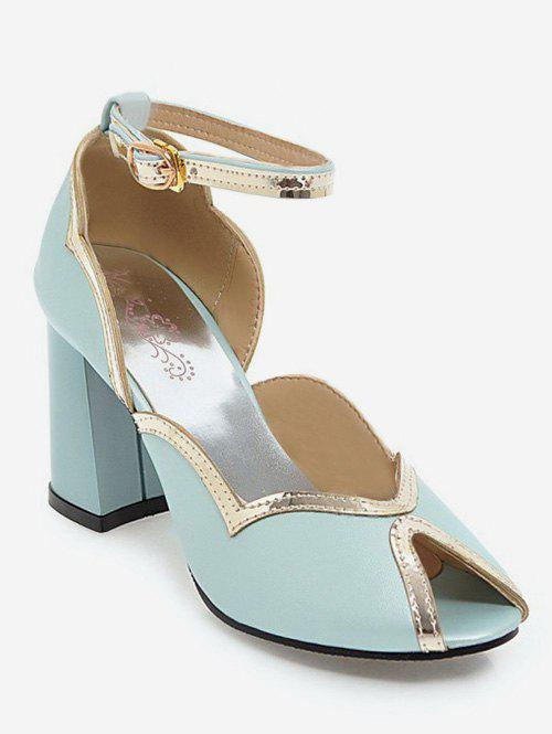 bb4f1d49653 2019 Plus Size Block Heel Peep Toe Party Sandals
