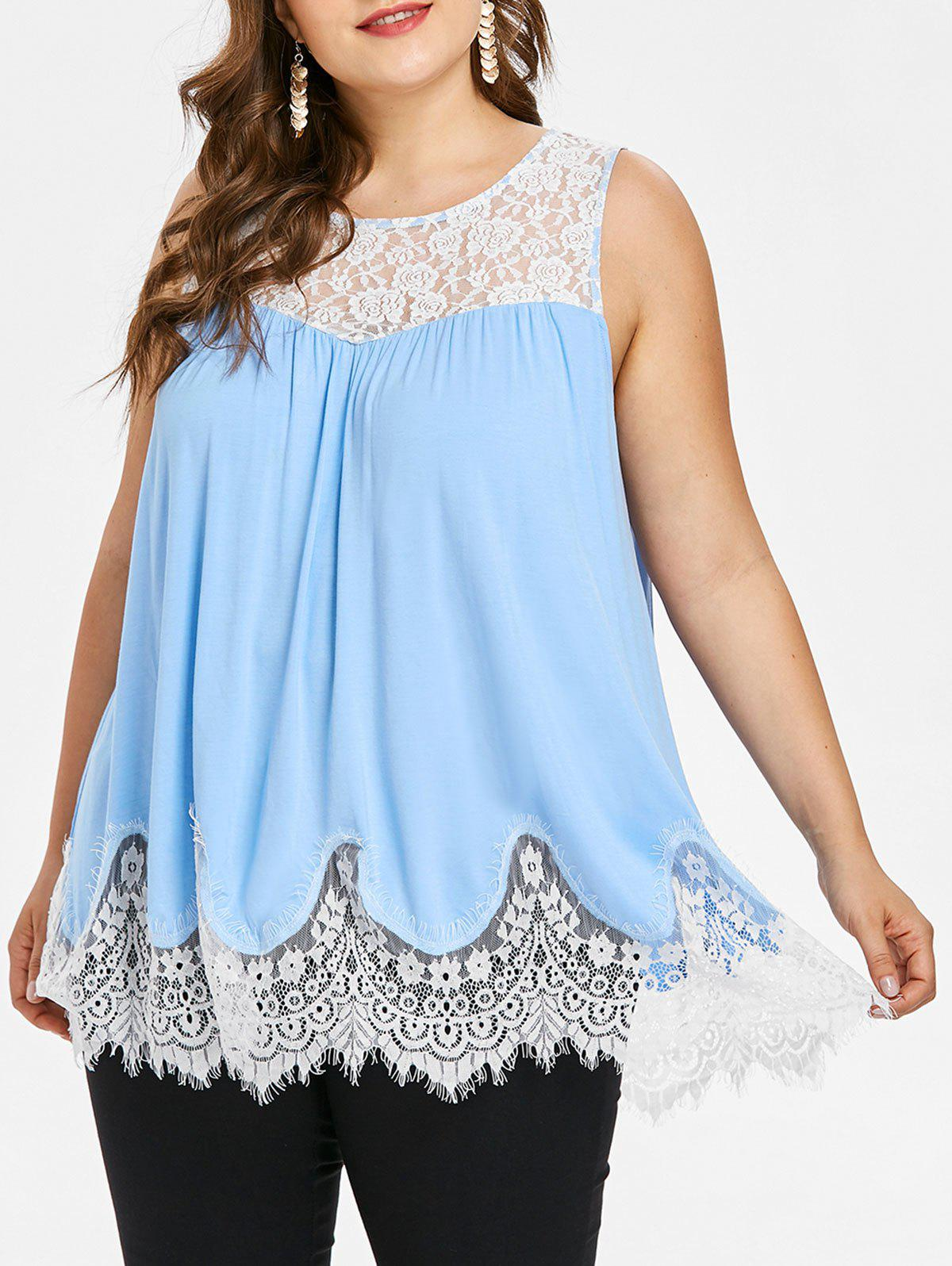 Buy Lace Panel Plus Size Round Neck Tank Top