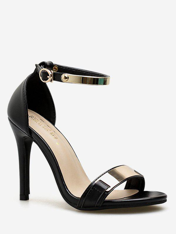 Fashion Metal Panel Ankle Strap High Heel Pumps