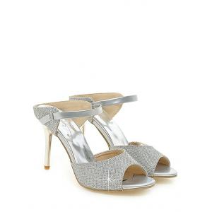 Plus Size Peep Toe Crystals Stiletto Heel Sandals -