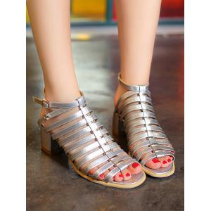 Plus Size Casual Chunky Heel Strappy Ankle Strap Sandals -