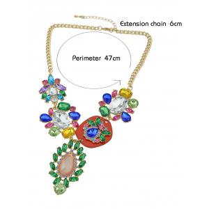 Rhinestone Decoration Water Drop Pendant Chain Necklace -