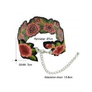 Wide Embroidery Flower Choker Necklace -