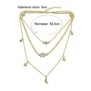 Layered Moon Star Rhinestone Alloy Necklace -