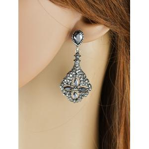 Rhinestone Flower Design Drop Earrings -