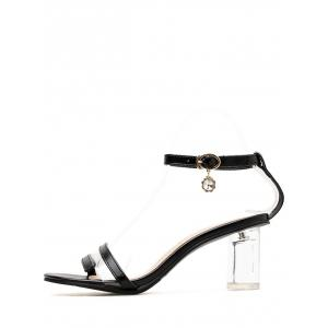 PU Leather Lucid Strap Mid Heel Pumps -