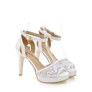 Plus Size Ankle Strap Stiletto Heel Lace Sandals -