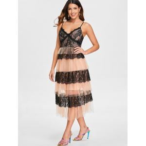 Lace Insert Mesh Tiered Midi Dress -