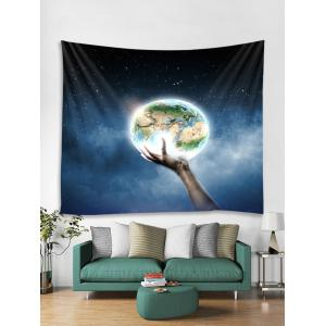 Wall Hanging Art Hand Holding Earth Print Tapestry -