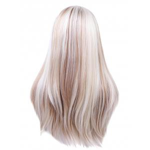 Long Center Parting Straight Colormix Party Synthetic Lace Front Wig -