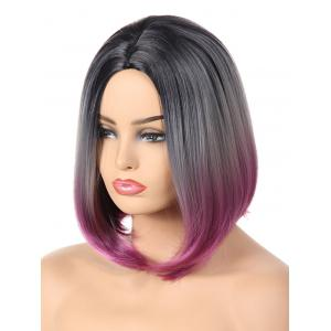 Medium Center Parting Ombre Straight Bob Synthetic Wig -