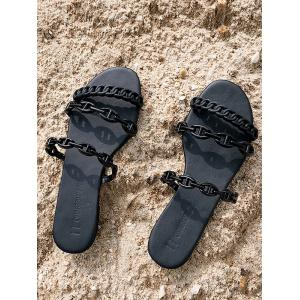 Casual Flat Heel Beach Holiday Chain Strap Slides -