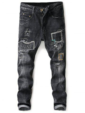 Cheap Embroidery Patch Distressed Zip Fly Jeans