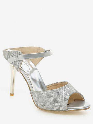 Cheap Plus Size Peep Toe Crystals Stiletto Heel Sandals