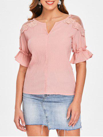 Chic Lace Panel Crinkle Blouse