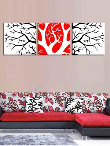 Wall Art Branches Pattern Canvas Paintings - MULTI - 3PC:16*16 INCH( NO FRAME )