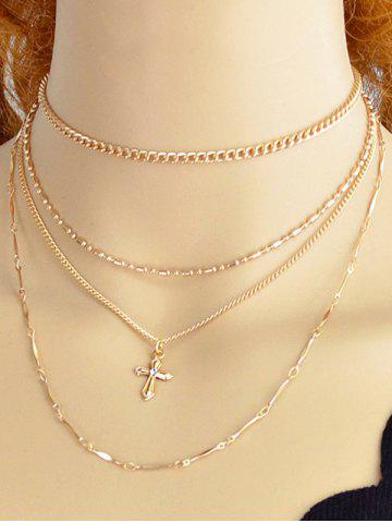 New Alloy Cross Chain Layered Necklace