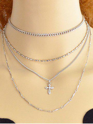 Shops Alloy Cross Chain Layered Necklace