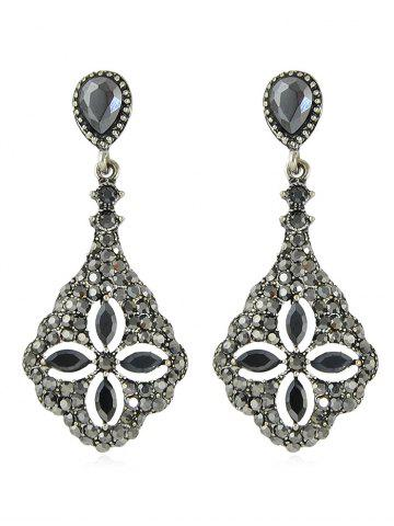 Outfit Rhinestone Flower Design Drop Earrings