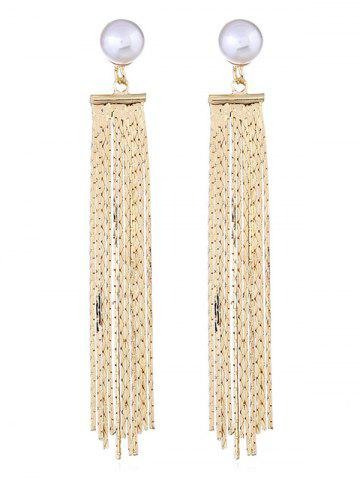 Outfits Fringe Long Chain Faux Pearl Earrings