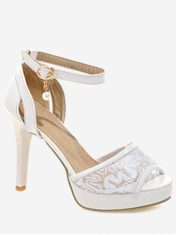 Chic Plus Size Ankle Strap Stiletto Heel Lace Sandals