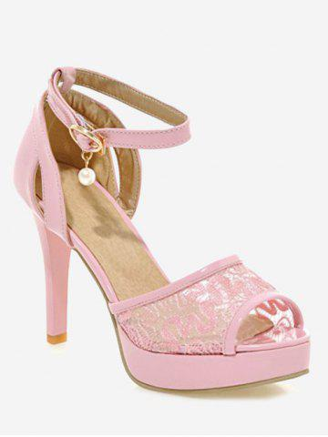 Fancy Plus Size Ankle Strap Stiletto Heel Lace Sandals