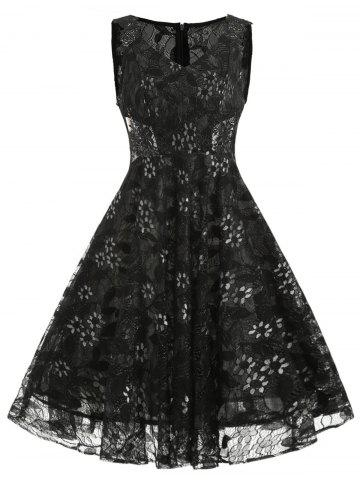 Fancy V Neck Floral Lace A Line Dress