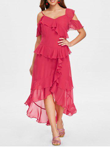 Unique Asymmetric Layer Ruffle Faux Wrap Midi Dress