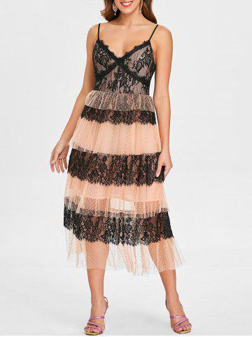 Best Lace Insert Mesh Tiered Midi Dress