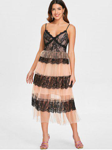 Lace Insert Mesh Tiered Midi Dress