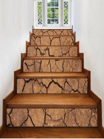 Chic Dry Cracked Earth Print Stair Stickers
