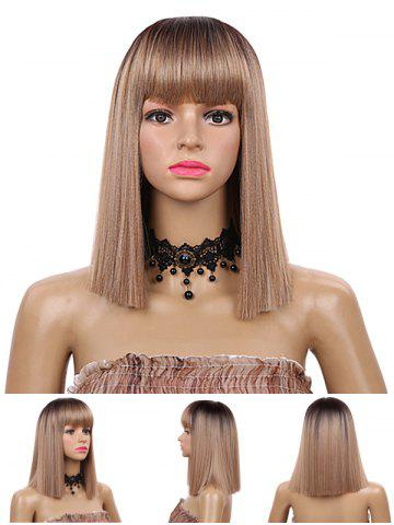 Unique Medium Neat Bang Blunt Straight Synthetic Wig