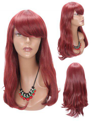 Unique Long Side Bang Slightly Curly Party Synthetic Wig