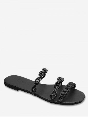 Buy Casual Flat Heel Beach Holiday Chain Strap Slides
