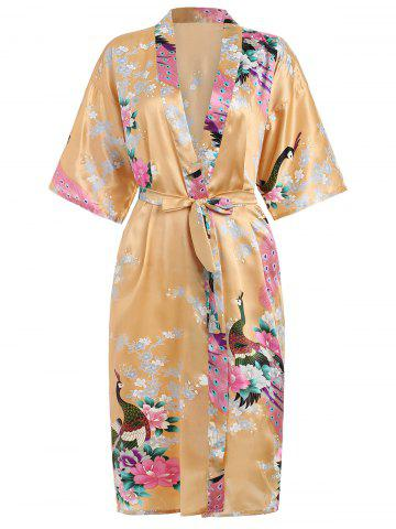 Shops Flower Printed Sleeping Robe with Belt