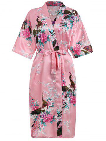 Outfits Flower Printed Sleeping Robe with Belt