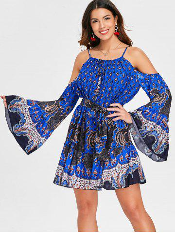 Ethnic Print Cold Shoulder Short Dress