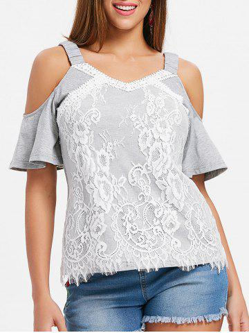 Fancy Lace Panel Cold Shoulder Blouse