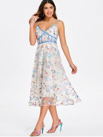 Strappy Embroidered Empire Waist Dress