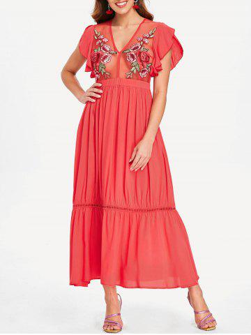 Flutter Sleeve Embroidered Mesh Dress