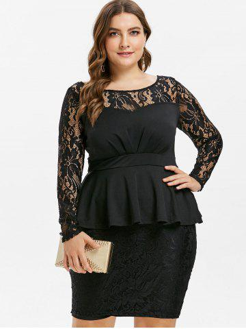 Lace Panel Plus Size Peplum Dress
