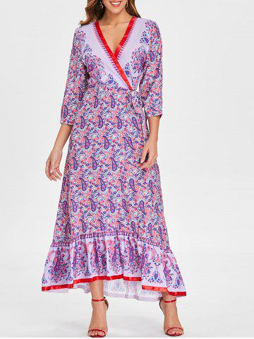 Paisley Print Maxi A Line Dress - MULTI - L
