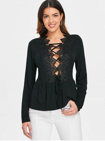 Lace Insert Lace Up Plunge Top