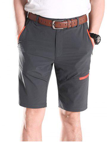 b27e4a30afc48 Contrast Color Zip Fly Sports Shorts