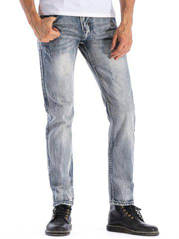 Ripped Faded Wash Zip Fly Jeans