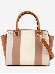 Color Block PU Leather Striped Handbag with Strap -