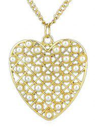 Heart Shaped Hollow out Artificial Pearl Pendant Necklace -
