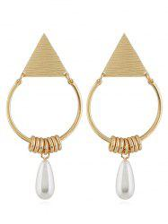 Geometric Artificial Pearl Pendant Earrings -