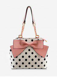 Contrasting Color Polka Dot Bow Chic Shoulder Bag -